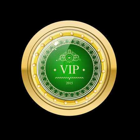 Glossy and gold label. Green stone in gold. Stone with different shades. Vector label with Vip text on dark green background Illustration
