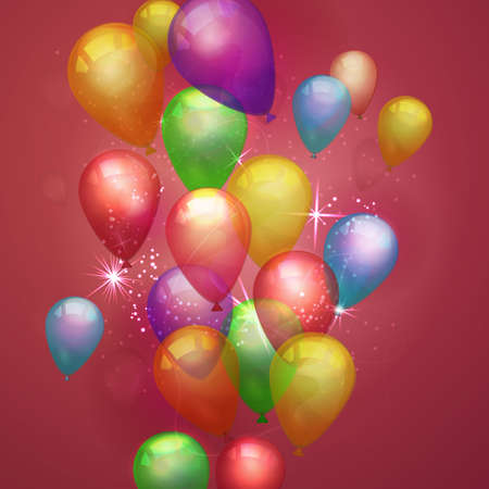 red balloons: Flying festive balloons shiny with glossy balloons on red background. Vector composition with colorful balloons for holiday Illustration