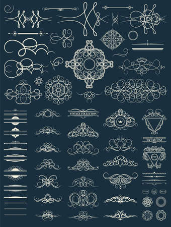 aristocracy: Vintage set decor elements. Decoration for wedding album or restaurant menu. Elegance old hand drawing set. Ornate swirl leaves, label, curved lines and decor elements in vector.