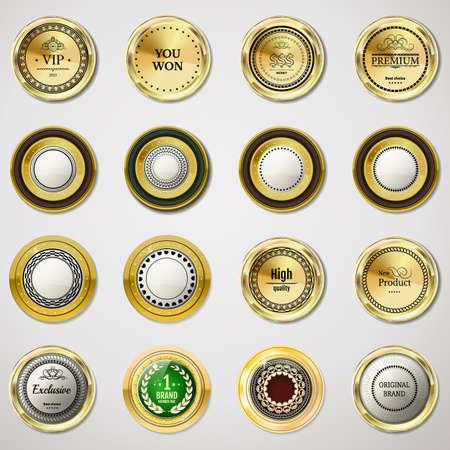 Collectie gold etiketten voor promo zeehonden. Kan gebruikt worden voor de website, online-shop, ontwerp certificaat. Kwaliteit stickers ronden met stenen. Vector retro-objecten op een witte achtergrond Stock Illustratie