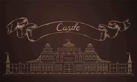brawn: Old castle in sketch. Medieval fairy castle in vector. Illustration