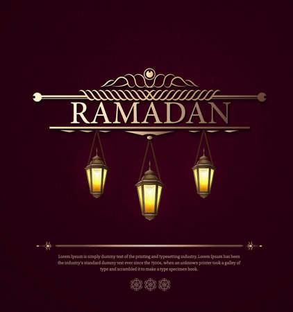 在黑暗的抽象背景的阿拉伯传染媒介灯赖买丹月kareem的。挂有文本,光,迷离和bokeh的照明的灯。红色盖子与光和反射