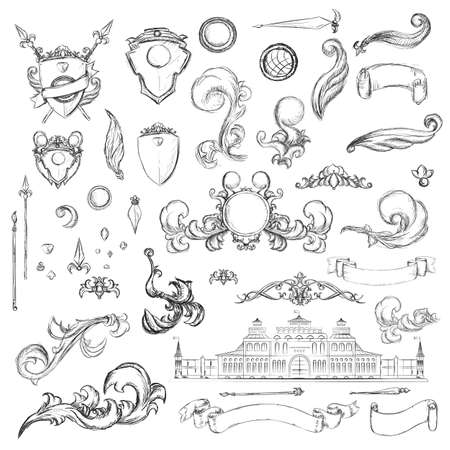 aristocracy: Vintage set decor elements for menu. Elegance old hand drawing set. Sketch ornate swirl leaves, label, acanthus elements, shield and decor objects in vector. Sketch for writer, wedding or restaurant. Illustration