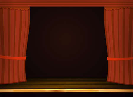 cortinas rojas: Vector red curtains in theater. Vectores