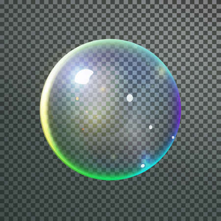 soap reflection: Colorful bubble in vector. Isolated Soap Water bubble with reflection Illustration