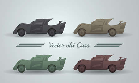 pastel like: Vector set of old cars. Transport like broken and dirty in pastel color Illustration