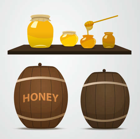dipped: A set of barrels of honey for the apiary and cans that are on the shelf. Spoon dipped in a jar of honey. Yellow jars and brown barrels filled with honey in vector.