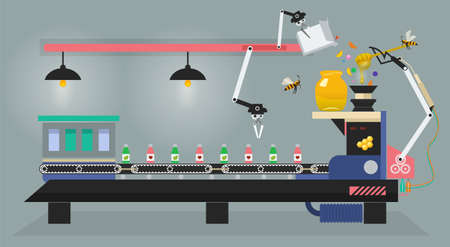 Production of medicine and vitamin on pharmaceutical factory in vector infographics. Bee controls conveyor. Apiary flat illustration.