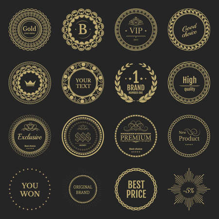 yelow: Collection yelow labels for promo seals. Vintage sticker with text. Can be used for design certificate. Quality stickers round. Vector retro objects