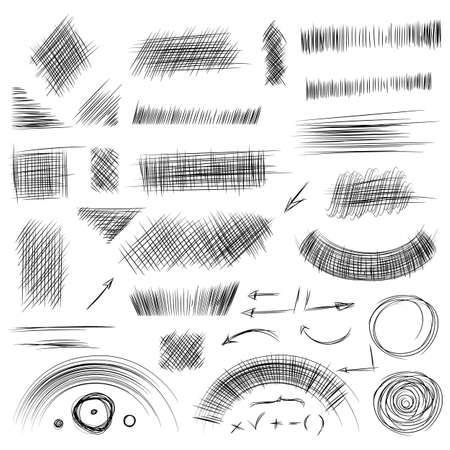 Pencil sketches.Hand drawn scribble shapes. A set of doodle line drawings. Vector design elements