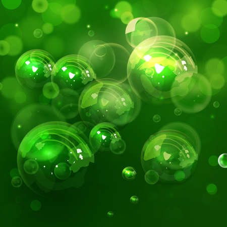 sud: Colorful water bubbles in vector. Illustration