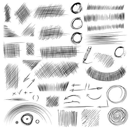 line drawings: Pencil sketches.Hand drawn scribble shapes. A set of doodle line drawings. Vector design elements