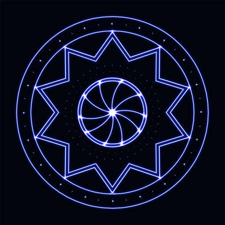star power: Sacred Geometry in blue neon light. Energy power bright burst star in space.  Explosion pattern geometrical abstract light background blue. Vector illustration