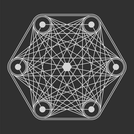 web portal: Sacred Geometry in light grey lines. Burst star in space.  Explosion pattern geometrical abstract light grey. Vector simple illustration