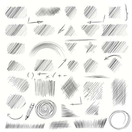 hand pencil: Hand drawn scribble shapes. A set of doodle line drawings. Pencil sketches. Vector design elements. Hatching with a pencil in vector