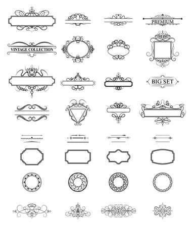 wicker: Wicker lines and old decor elements in vector.
