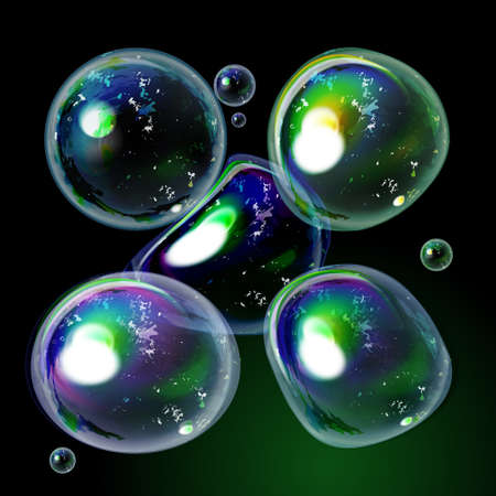 soap reflection: Bubble collection . Soap colorful bubbles with transparency designed for dark background. Isolated different bubble set with reflection. Abstract symbols on black and green backdrop