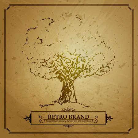 Vintage-Baum in der Skizze auf dem braunen Hintergrund Grunge. Retro-Illustration mit Text und Dekoration Grenze. Silhouette Wachstum Baum auf schmutziges Papier