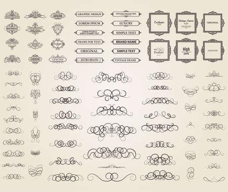 product quality: Vintage set exclusive borders and frame. Wicker lines and business vector decor elements. Luxury page decoration with genuine. Design element with original, brand, product, quality, vip. Calligraphic