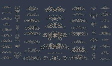 wedding decor: Vintage decor elements and wicker lines in vector. Decoration for logos, page, wedding album or restaurant menu in set. Calligraphic design elements Illustration