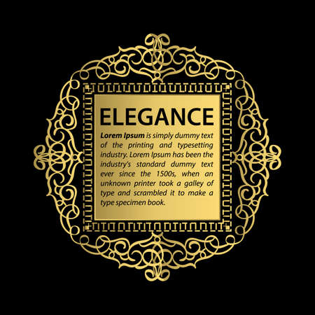 Elegance Rosette wicker border in vector. Gold vintage sign, certificate and page decoration in advertising. Business flourish emblem for classic logo. Motif frame or ornate element.