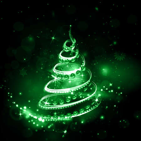 Merry Christmas night holiday background in green shades with salute, shiny christmas tree and bright explosion. Night sky with stars and sparkles in vector. Green explosion.