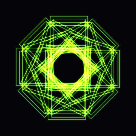 Abstract green neon shape, futuristic wavy fractal of star Illustration