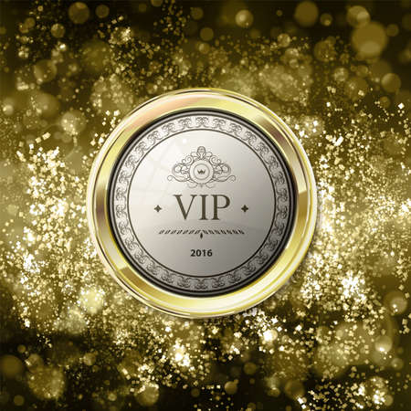 Vip emblem on abstract gold background with bokeh. Yellow and light brown blurred background with gold label. Vector illustration. Can be use for jewelry themes, fashion or holiday Ilustracja