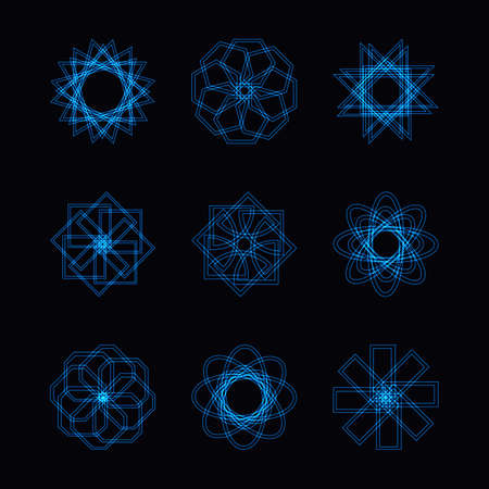 Abstract blue neon shape, futuristic wavy fractal of star and circle collection. Vector square and other different decorative elements. Cool geometric illustration Stock Photo