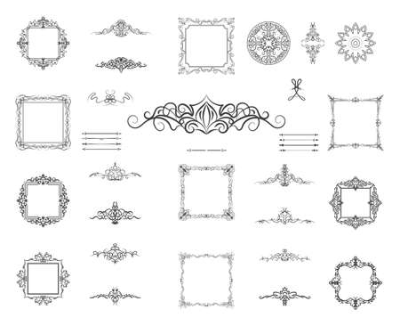 Set vintage borders, frame and rosette. Decoration for logo, wedding album or restaurant menu. Ornate swirl leaves, label, curved lines and decor elements in vector.