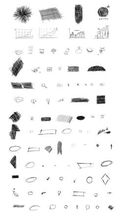 Pencil sketches. Hand drawn scribble shapes. A set of doodle line drawings. Vector design elements. Hatching with a pencil Vettoriali