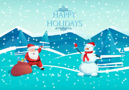 Happy New Year. Santa Claus and Snowman on a winter background with a Christmas tree and gifts. Festive illustration in vector for Christmas or new year Illusztráció