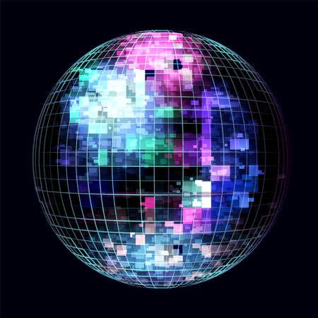 Palla da discoteca astratta blu e viola di vettore. Musica leggera in una sfera a specchio al neon viola.