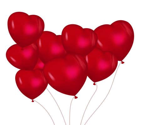 Valentinstagskalligraphie der Zusammensetzung auf rotem Vektorhintergrund mit Amor und Herzen. Design für Urlaubsetikett. Beschriftungskarte