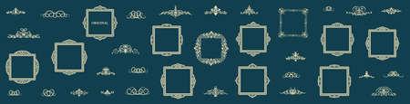 Vintage set decor elements. Decoration for logo, wedding album or restaurant menu. Elegance old hand drawing set. Ornate swirl leaves, label, curved lines and decor elements in vector.