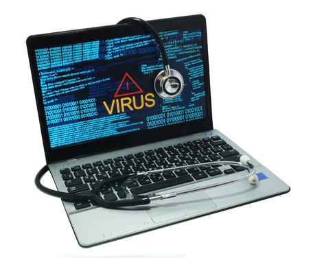 virus: stethoscope on a laptop with virus