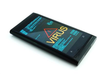 hijacker: Smartphone with virus on white
