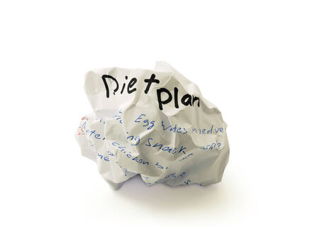 weight loss plan: Crumpled paper ball with the words diet plan