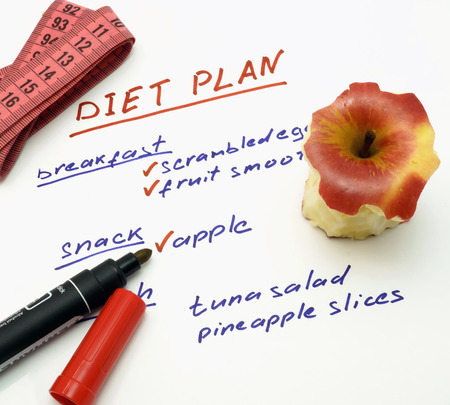 diet plan: Diet plan with apple, marker and measuring tape