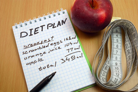diet plan: Diet plan. Measuring tape, a marker and a notepad with a daily diet plan