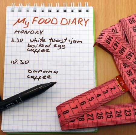 weight loss plan: Nastro di misurazione, un indicatore e un blocco note con un diario alimentare