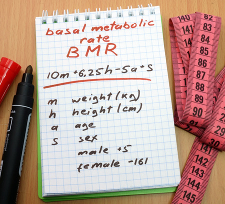 metabolic: Measuring tape, a marker and a notepad with a  calculation of bmr. Basal metabolic rate