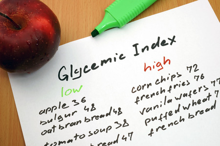 glycemic: apple, a marker and a paper with a glycemic index