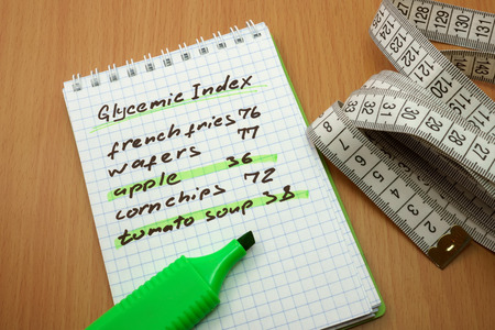 Measuring tape, a marker and a notepad with a glycemic index Stock Photo