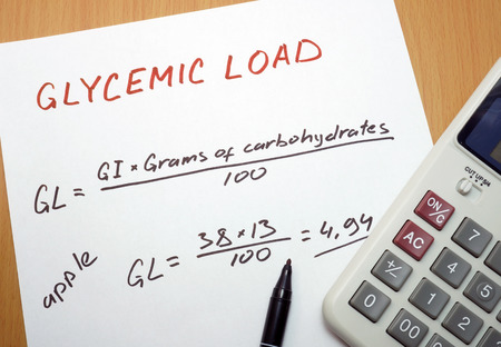 glycemic: calculator, a marker and a paper with a glycemic load formula