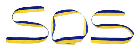 donbass: Word SOS from ribbon with ukrainian flag. Stock Photo