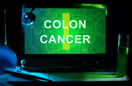 colon cancer: Notebook with words  colon cancer