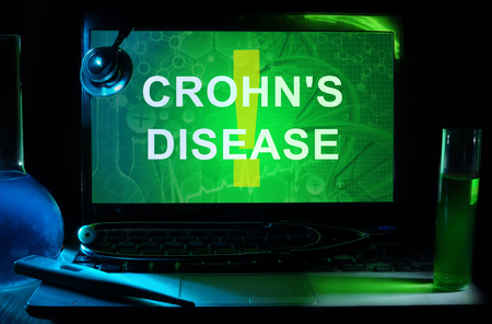 enteritis: Notebook with words  crohns disease