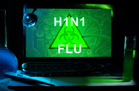 h1n1: Notebook with words  H1N1 Flu