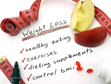 weight loss plan: Paper with words Weight loss, healthy eating, dieting supplements and control bmi Stock Photo